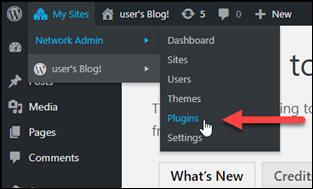 WordPress 管理ダッシュボードのプラグインメニュー。