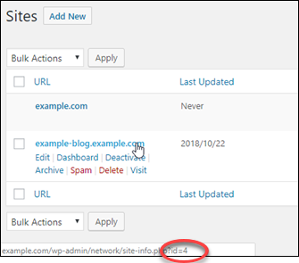 WordPress のサイト ID。