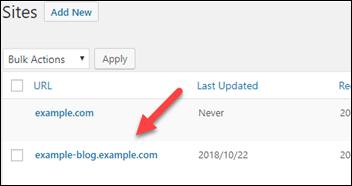 WordPress 管理ダッシュボードのサイトリスト。