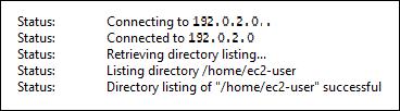 FileZilla は のインスタンスに正常に接続されましたLightsail。