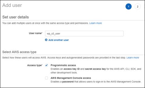 IAM コンソールのアクセスタイプ。