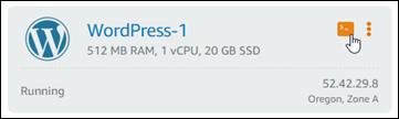 Lightsail コンソールのブラウザベースの SSH クライアントアイコン。