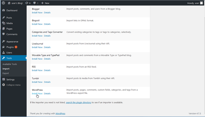 WordPress ダッシュボードにインポートツールをインストールする