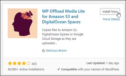 用の WP Offload Media Lite プラグインWordPress。
