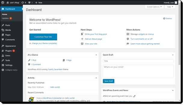 WordPress の管理ダッシュボード。