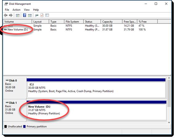 Windows Server 2016의 단순 볼륨 만들기 마법사에 표시된 성공 메시지