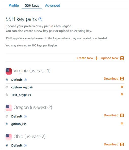 계정 페이지의 키 페어 관리