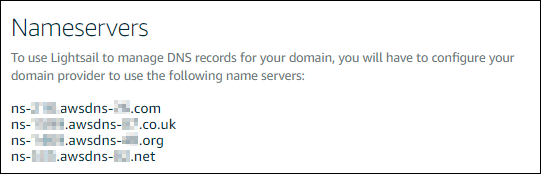 Lightsail 콘솔의 DNS 영역 이름 서버.