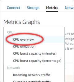 지표 탭의 CPU 개요 옵션